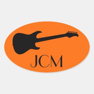 Monogram Modern Black Electric Guitar on Orange Oval Sticker