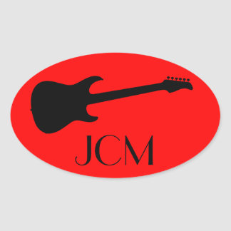 Monogram Modern Black Electric Guitar on Red Oval Sticker