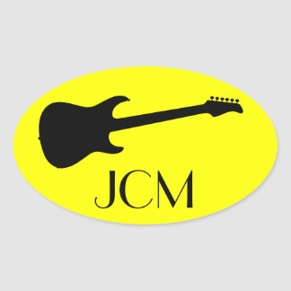 Monogram Modern Black Electric Guitar on Yellow Oval Sticker
