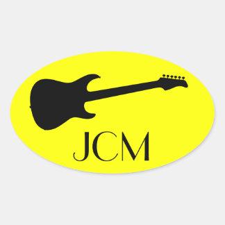 Monogram Modern Black Electric Guitar on Yellow Oval Sticker