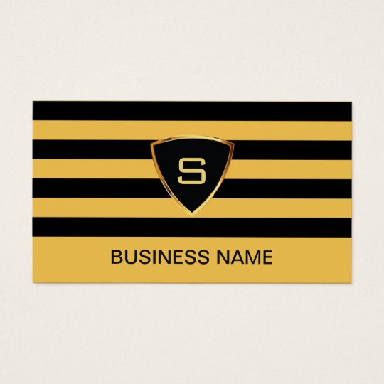 Monogram Modern Black & Gold Stripes Business Card