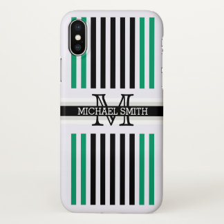 Monogram Modern Black Green-cyan Stripes Pattern iPhone X Case