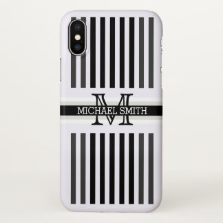 Monogram Modern Black Jet Stripes Pattern iPhone X Case