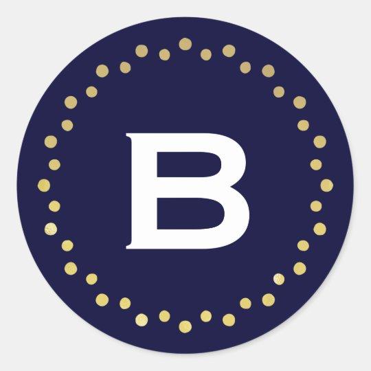 Monogram Modern Circle Dots Sticker Label / Navy