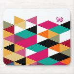 Monogram Modern Colourful Geometric Pattern Mouse Pad