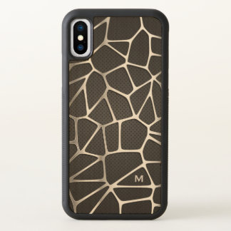Monogram. Modern. Dark Background Silver Linings iPhone X Case