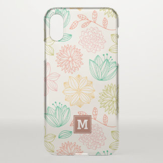 Monogram. Modern Geometric Floral Pattern. iPhone X Case