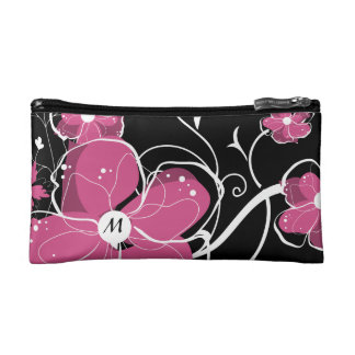 Monogram Modern Girly Pink and White Flowers Makeup Bag