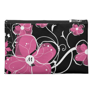 Monogram Modern Girly Pink and White Flowers Travel Accessory Bag