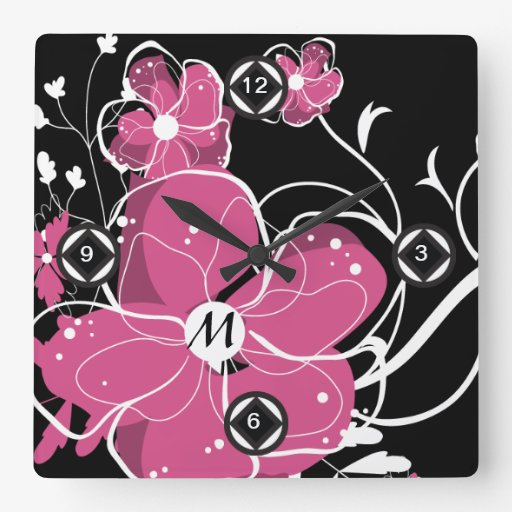 Monogram Modern Girly Pink and White Flowers Square Wall Clocks