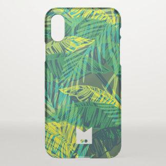 Monogram. Modern Grunge Tropical Palm Pattern iPhone X Case