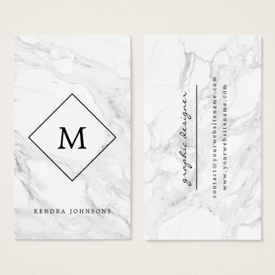 Monogram modern marble business card