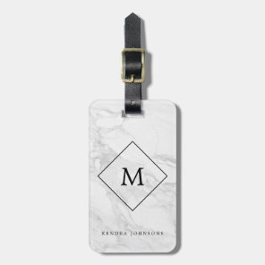 Monogram modern marble luggage tag