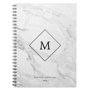 Monogram modern marble notebook