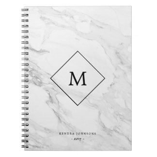 Monogram modern marble notebooks