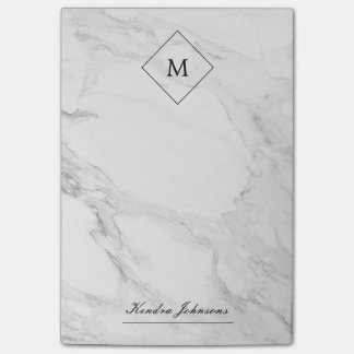 Monogram modern marble post-it notes