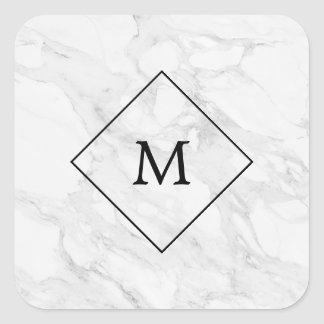 Monogram modern marble square sticker
