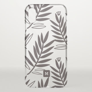 Monogram. Modern Monochromatic Floral Pattern. iPhone X Case