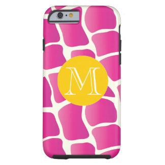 Monogram Modern Pink and Ivory Giraffe Pattern Tough iPhone 6 Case