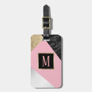 Monogram Modern Pink Gold Silver & Black Marble Luggage Tag