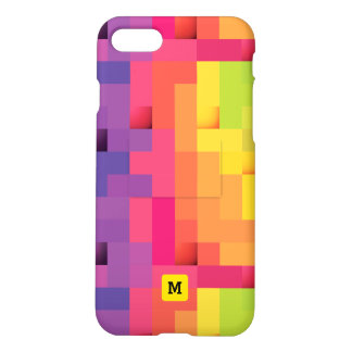 Monogram. Modern Pop Art Geometric Rainbow Colors. iPhone 8/7 Case