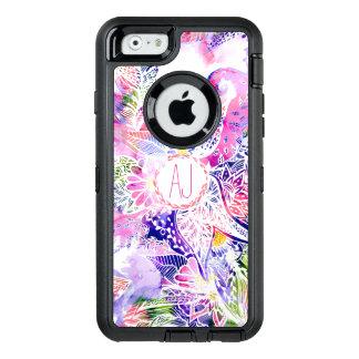 Monogram modern purple blue watercolor floral OtterBox iPhone 6/6s case