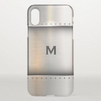 Monogram. Modern. Silver Metal Plate. iPhone X Case