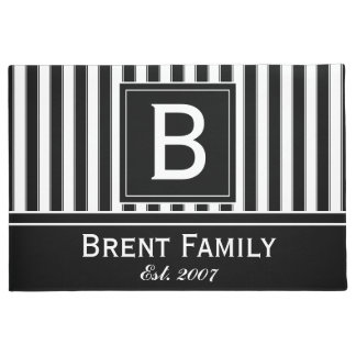 Monogram Modern Stripes Pattern Mat, Black White Doormat
