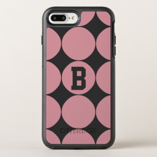 Monogram Modern Stylish Pink Polka Dot OtterBox Symmetry iPhone 8 Plus/7 Plus Case