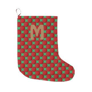 Monogram Modern Stylish Red Polka Dot Large Christmas Stocking