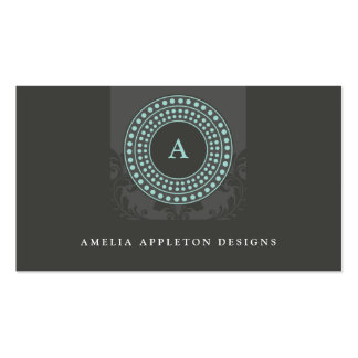 MONOGRAM modern stylish rotor gray mint Double-Sided Standard Business Cards (Pack Of 100)