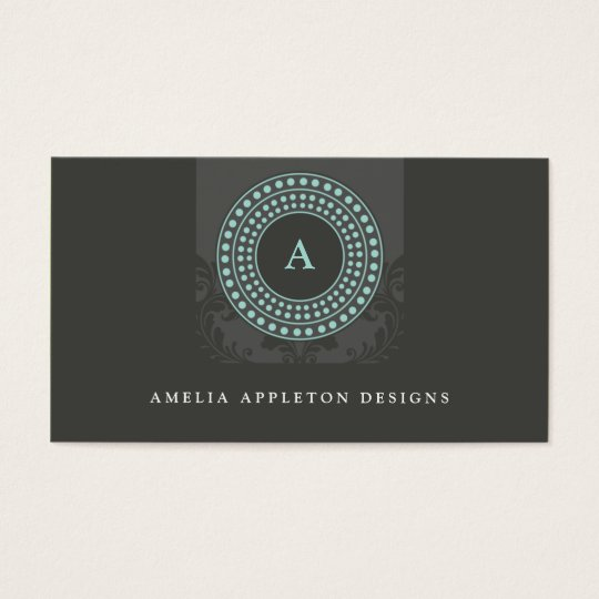 MONOGRAM modern stylish rotor grey mint Business Card