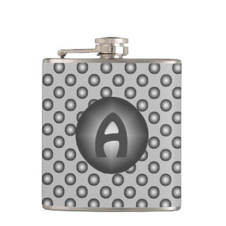 Monogram Modern Stylish Silver Polka Dot Flask