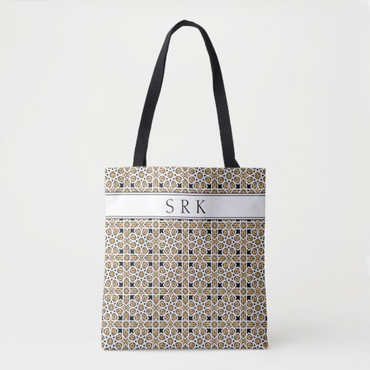 Monogram Moroccan Beige and Black Pattern Reusable Tote