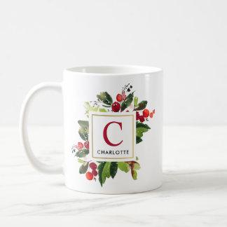 Monogram Mug | Christmas Florals