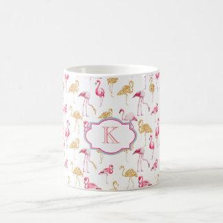 Monogram mug. Flamingo print. Coffee Mug