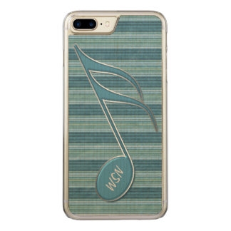 Monogram Music Note and Stripes in Shades of Blue Carved iPhone 8 Plus/7 Plus Case
