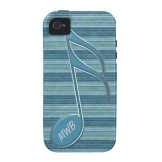 Monogram Music Note and Stripes in Shades of Blue iPhone 4 Cover