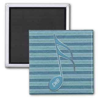 Monogram Music Note and Stripes in Shades of Blue Square Magnet