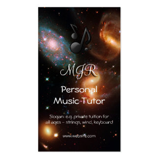 Monogram Music Tutor, deep space galaxy cluster Pack Of Standard Business Cards