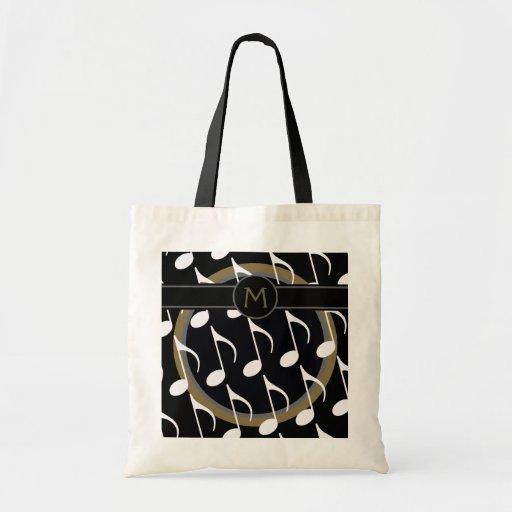 monogram & musical notes tote bag