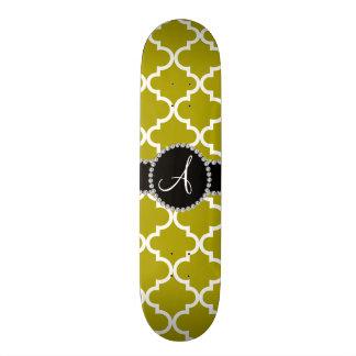 Monogram mustard gold moroccan quatrefoil skate board