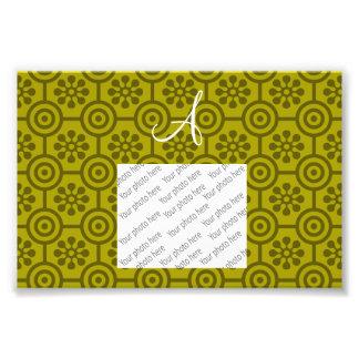 Monogram mustard yellow retro flowers and circles photographic print