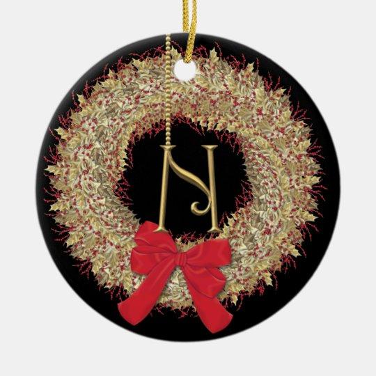 Monogram N Christmas Wreath Snowflakes Round Ceramic Decoration