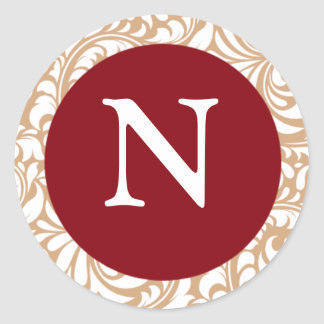 Monogram N Cranberry Color Design Designer Wedding Round Sticker