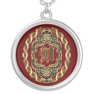 Monogram N Customize Edit Change Background Color Round Pendant Necklace
