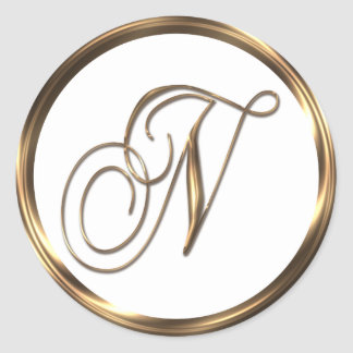 Monogram N Faux Bronze Round Sticker