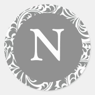 Monogram N Gray Grey Custom Wedding Monograms Seal Round Sticker