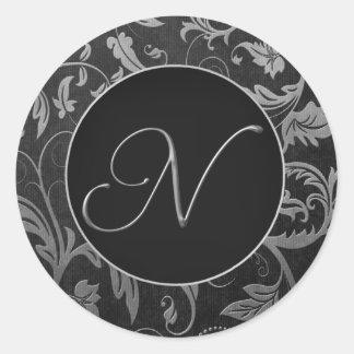 Monogram N Silver and Black Damask Wedding Seal Round Sticker