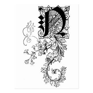 Monogram N with Acanthus Leaf Postcard
